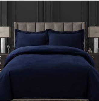 Tribeca Living Cotton Flannel Solid Oversized King Duvet Set Bedding