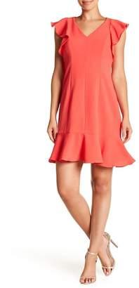 Eliza J V-Neck Ruffle Dress