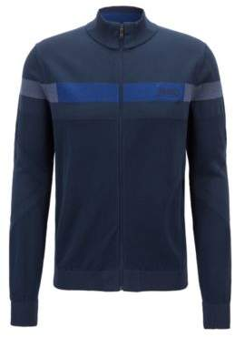 BOSS Hugo Zippered tracksuit top in stretch fabric Thermolite& S Dark Blue