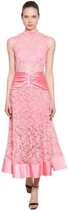 Self-Portrait Floral Lace & Satin Midi Dress