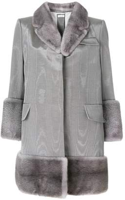 Thom Browne Moire Vent Back Chesterfield Overcoat With Mink Fur