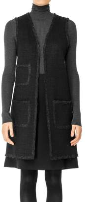 Max Studio Boiled Wool Shadow Checked Long Vest