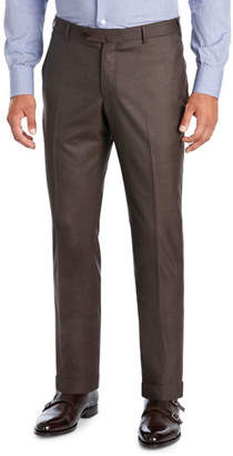 Isaia Extralight Saxony Flat-Front Trousers