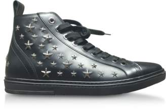 Jimmy Choo Colt Black Leather Sport High Top Sneakers w/Multi Stars