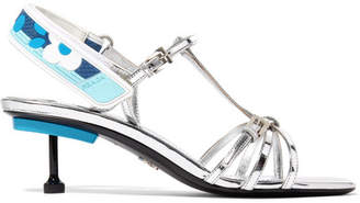 Prada Metallic Leather Slingback Sandals - Silver