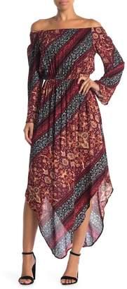Meghan LA Off-the-Shoulder Electra Scarf Hem Dress