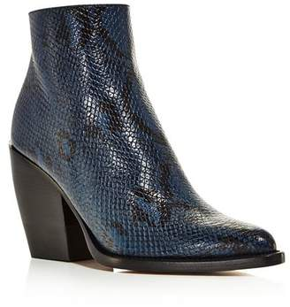 Chloé Women's Rylee Pointed Toe Snakeskin-Embossed Leather Booties