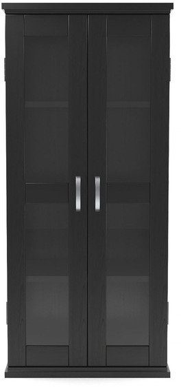 """Gibson Living Kirkwell 41"""" Adjustable Shelving Wood DVD Tower With Glass Panes in Black"""
