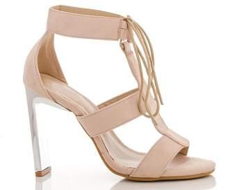 b72735d385f Quiz Nude Faux Suede Metallic Heel Sandals