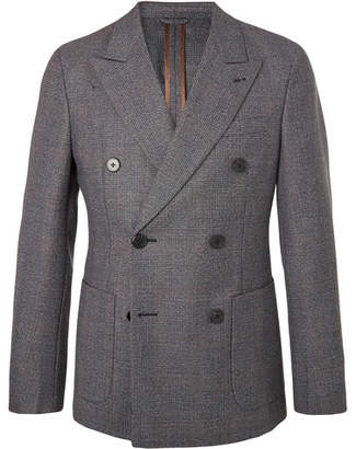 Prada Grey Slim-Fit Double-Breasted Prince Of Wales Checked Wool Blazer