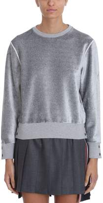 Thom Browne Relaxed Fit Velvet Crewneck Pullover