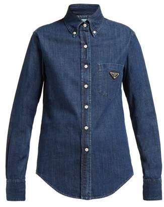 Prada Logo Plaque Cotton Chambray Shirt - Womens - Denim