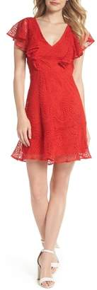 Chelsea28 Ruffle Sleeve Lace Fit & Flare Dress