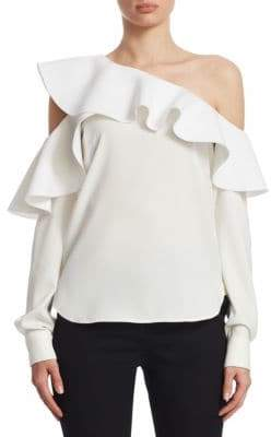 Oscar de la Renta One-Shoulder Ruffle Blouse