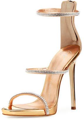 Giuseppe Zanotti Jeweled Three-Strap 110mm Sandal