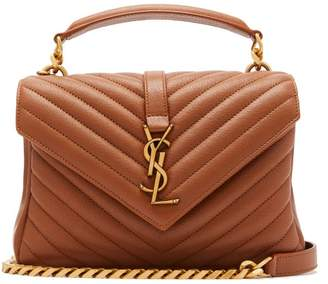 Saint Laurent College Monogram Quilted Leather Cross Body Bag - Womens - Tan