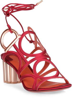 Salvatore Ferragamo Vinci 55 red satin sandals
