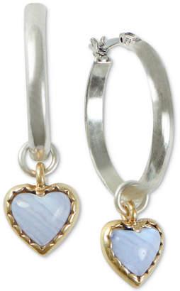 Lucky Brand Two-Tone Stone Heart Charm Hoop Earrings