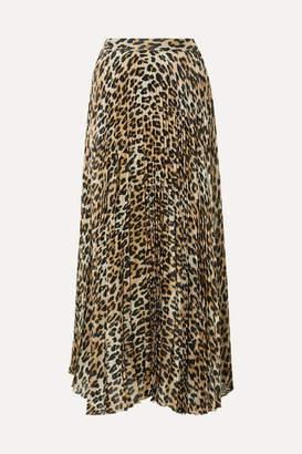 Alice + Olivia Katz Pleated Metallic Leopard-print Silk-blend Gauze Maxi Skirt