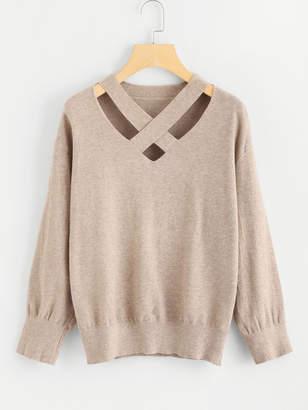 Shein Criss Cross Front Jersey Sweater