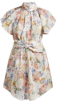 Zimmermann Bowie Belted Floral Print Mini Dress - Womens - Cream Print