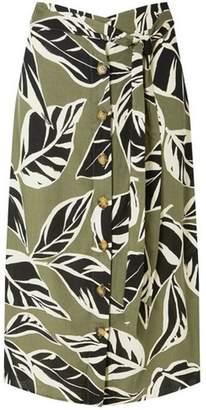 Dorothy Perkins Womens Leaf Print Button Midi Skirt