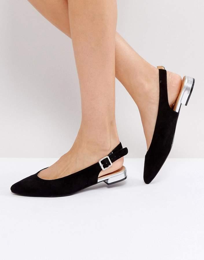 Raid Honey Black Sling Back Ballet Shoes