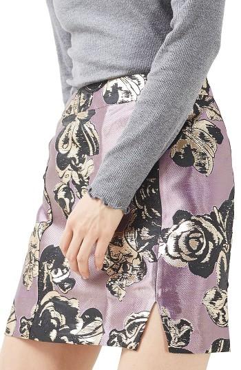 TopshopPetite Women's Topshop Jacquard Pelmet Miniskirt