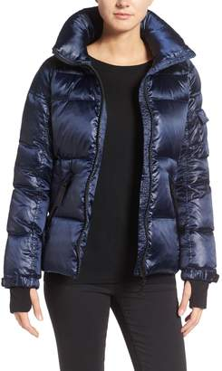 S13 Kylie Metallic Quilted Jacket with Removable Hood