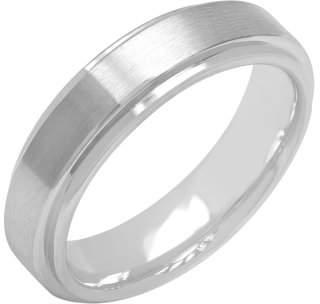 ONLINE Mens Gray Cobalt Step-Edge Satin Finish Wedding Band - Mens Ring