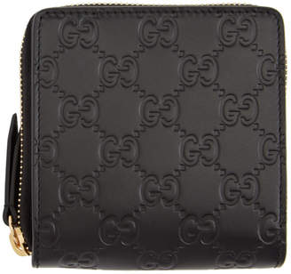 Gucci Black Signature Zip-Around Wallet