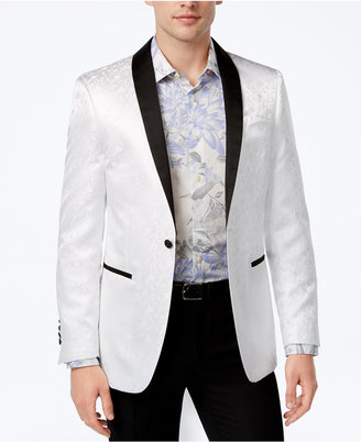 Tallia Men's Slim-Fit White Tonal Floral Dinner Jacket $350 thestylecure.com