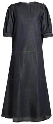 Marni Gathered Back Raw Denim Dress - Womens - Dark Indigo