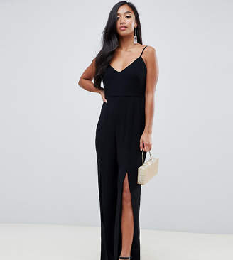 Forever New Petite jumpsuit with split leg in black