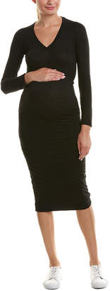 Monrow Maternity Shirred Midi Dress