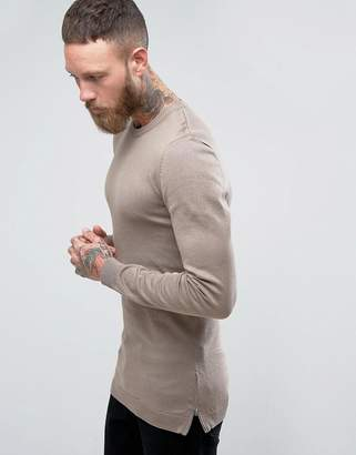 Asos Muscle Fit Longline Sweater With Side Zips In Oatmeal