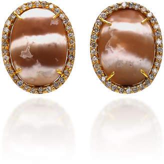 Kimberly McDonald 18K Gold Diamond and Chalcedony Earrings