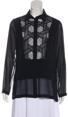 Yigal Azrouel Lace-Accented Silk Top w/ Tags