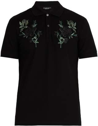 Alexander McQueen Floral-embroidered cotton piqué polo shirt