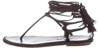 Miu Miu Tassel Wrap-Around Sandals