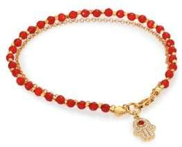 Astley Clarke Biography Red Agate& White Sapphire Hamsa Beaded Friendship Bracelet