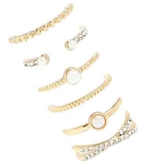 Forever 21 Pearl & Rhinestone Ring Set