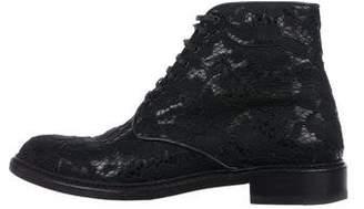Saint Laurent Lolita Lace Combat Boots