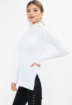 Missguided White High Neck Ribbed Top
