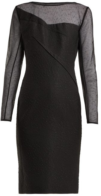 Magnolia Silk Blend Jacquard Dress - Womens - Black