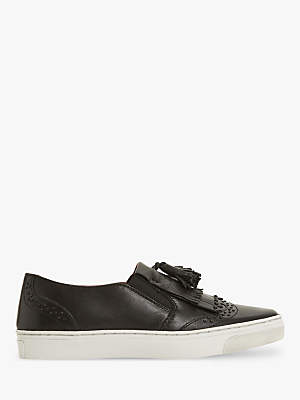 Bertie Eadie Slip-On Tassel Plimsolls, Black Leather