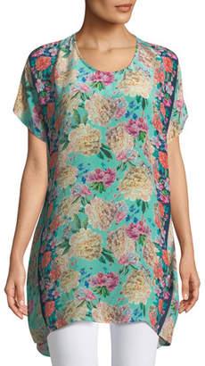 Tolani Tiffany Short-Sleeve Long Silk Floral Tunic