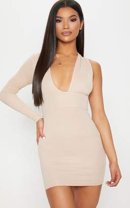 PrettyLittleThing Stone Asymmetric Sleeve Extreme Plunge Bodycon Dress