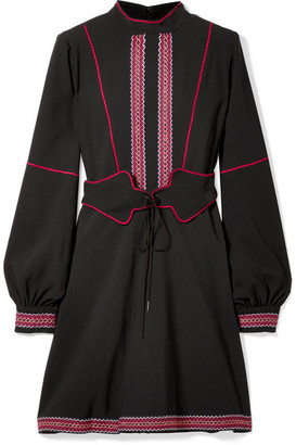 Anna Sui Belted Embroidered Crepe Mini Dress - Black