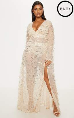 PrettyLittleThing Plus Rose Gold Sequin Long Sleeve Maxi Dress